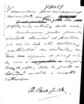 Manuscrito de Benito Pérez Galdós