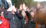 Seguidores (?) del Atlético de Madrid celebran en la Plaza de Neptuno, Madrid, la victoria de la final de copa, 18 de mayo de 2013.