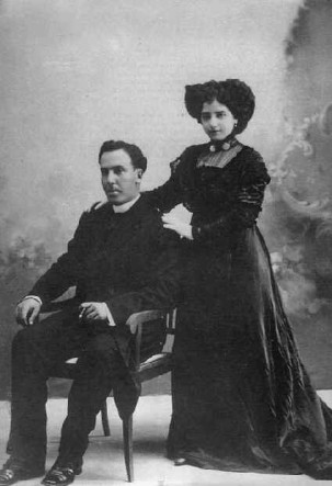 El día de la boda, 30 de junio de 1909.