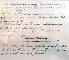 Firma y caligrafía de Machado el día 9 de febrero de 1939, 13 días antes de fallecer.