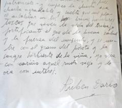 Firma de Rubén Darío en 1907, durante su estancia en Valldemosa, Mallorca, con Francisca Sánchez.