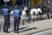 Despliegue policial en la Castellana, Madrid.