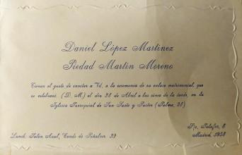 Invitación de boda de Daniel y Piedad